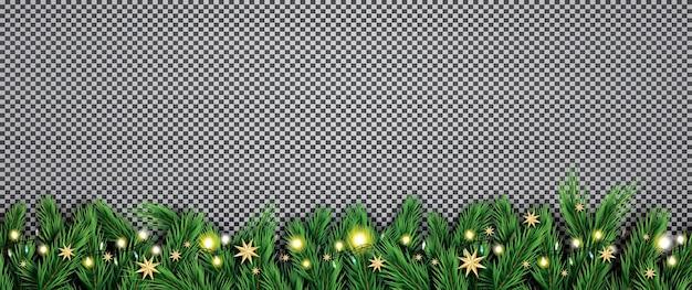 Fir tak met neonlichten en sterren op transparante achtergrond. Premium Vector