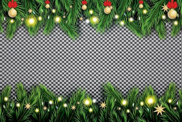 Fir tak met neonlichten, kerstbal en sterren op transparante achtergrond. Premium Vector