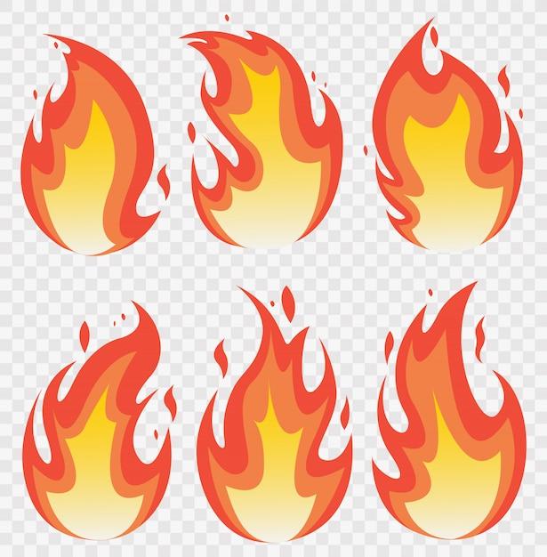 Fire flames set en line light effect. Premium Vector