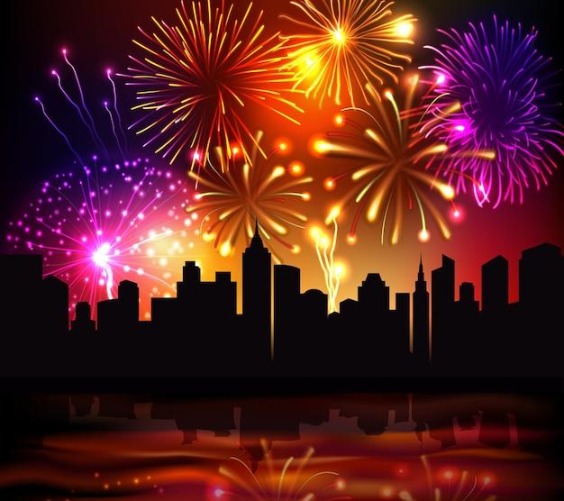 Fireworks city achtergrond Gratis Vector