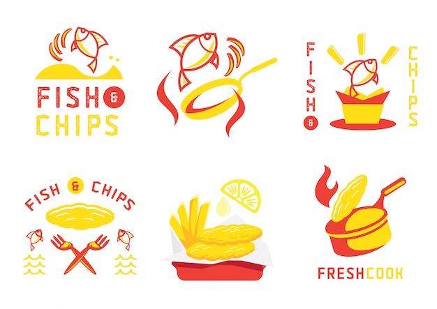 Fish and chip badge ontwerp en illustratie Premium Vector