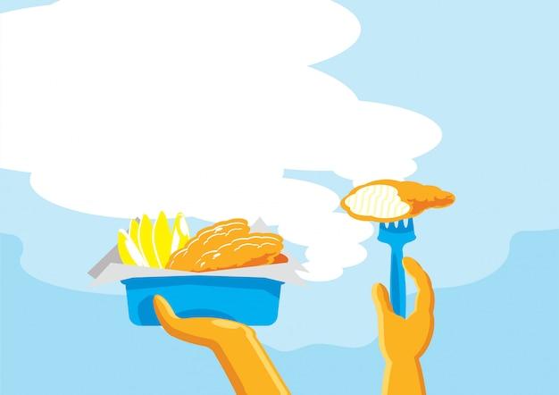 Fish & chips klaar om achtergrond te eten Premium Vector