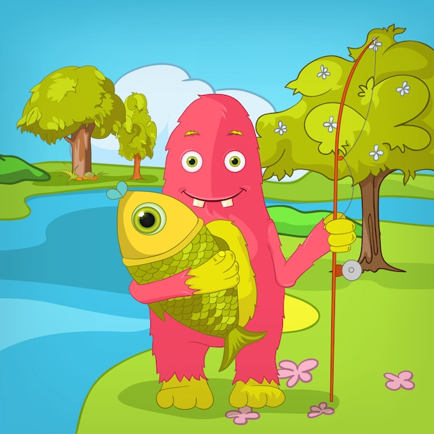 Fisher funny monster. Premium Vector