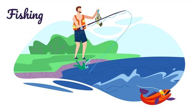 Fisherman stand met rod op coast have good catch-illustratie Premium Vector