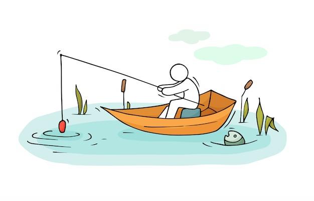 Fishman mannen zitten in een boot illustratie Premium Vector