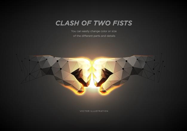 Fists. het concept van rivaliteit, concurrenten of team of partners. Premium Vector