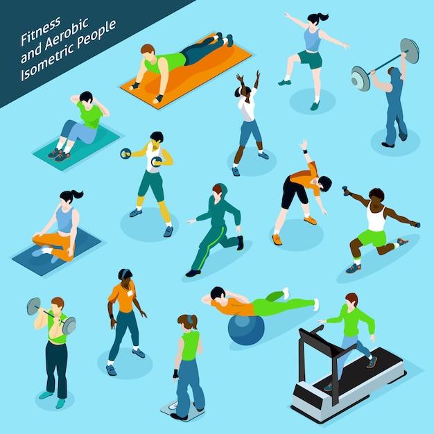 Fitness aerobics isometrische mensen icon set Gratis Vector