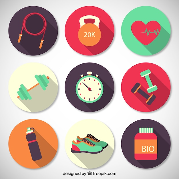 Fitness afgerond iconen collectie Gratis Vector