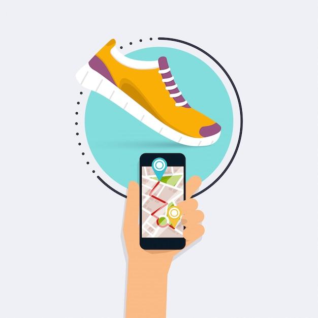 Fitness app concept op touchscreen. mobiele telefoon en tracker om de pols. vlakke stijl. Premium Vector