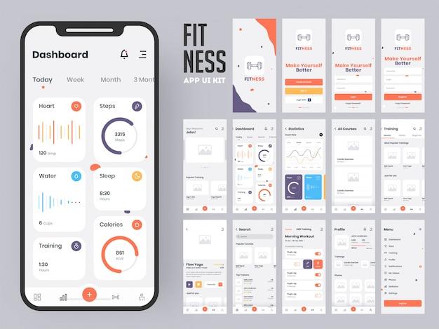 Fitness-app. Premium Vector