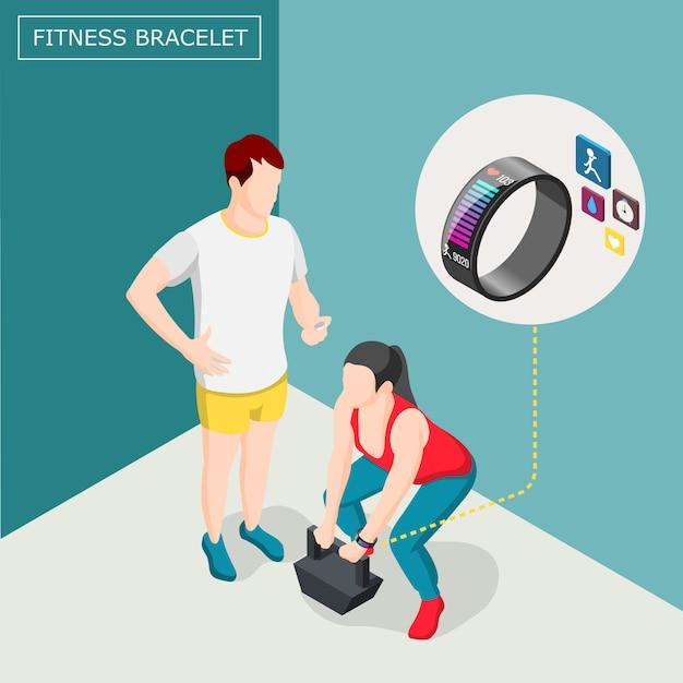 Fitness armband isometrische achtergrond Gratis Vector