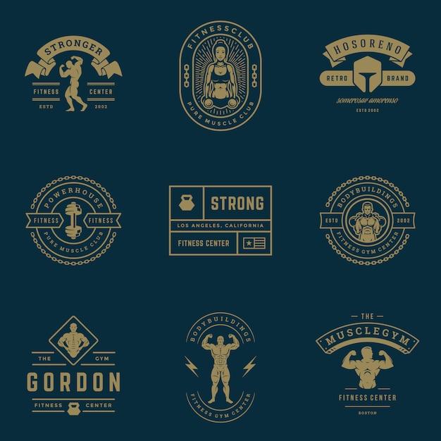 Fitness centrum en sport gym logo's en badges instellen illustratie. Premium Vector