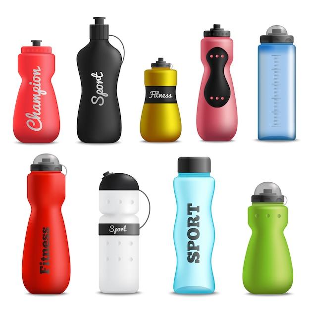 Fitness drinkflessen realistische set Gratis Vector