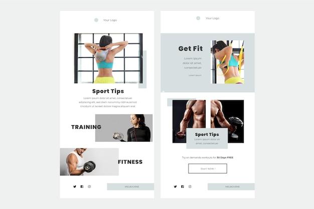 Fitness e-mailsjabloon Gratis Vector
