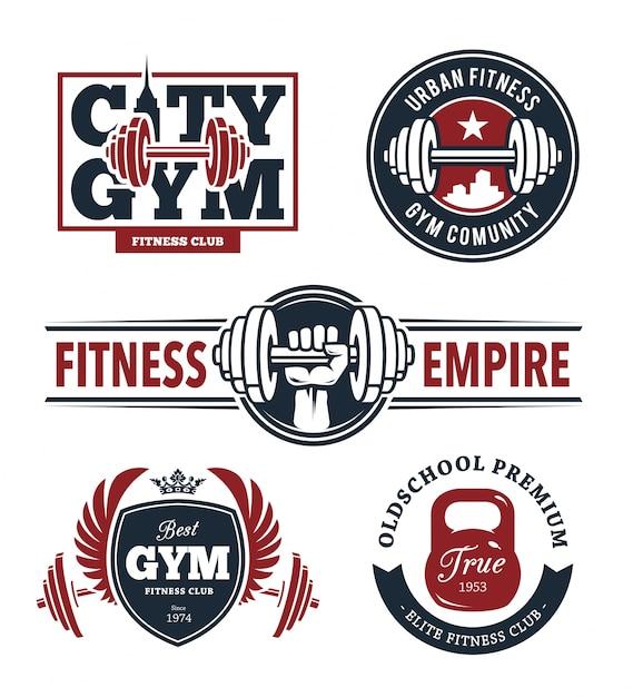 Fitness emblemen instellen Gratis Vector