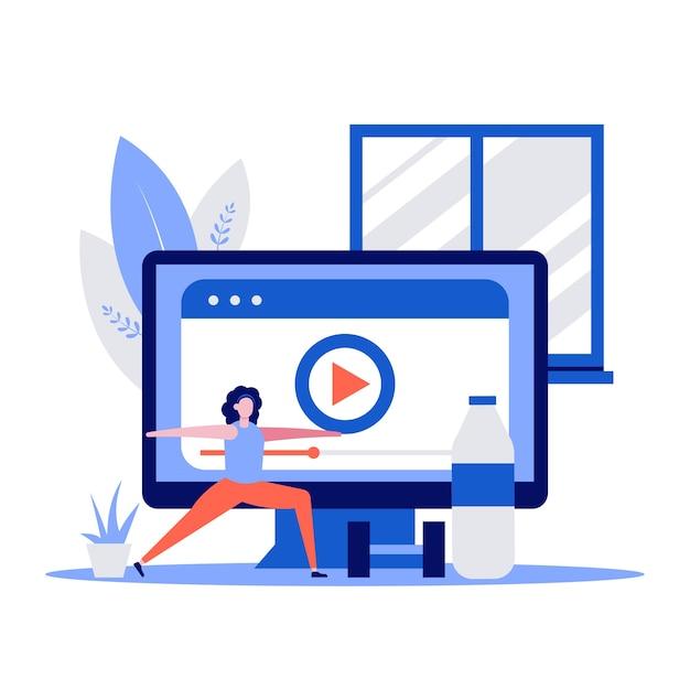 Fitness en gezond sportconcept met karakter en halter. vrouw opleiding thuis met het bekijken van video op de computer. Premium Vector