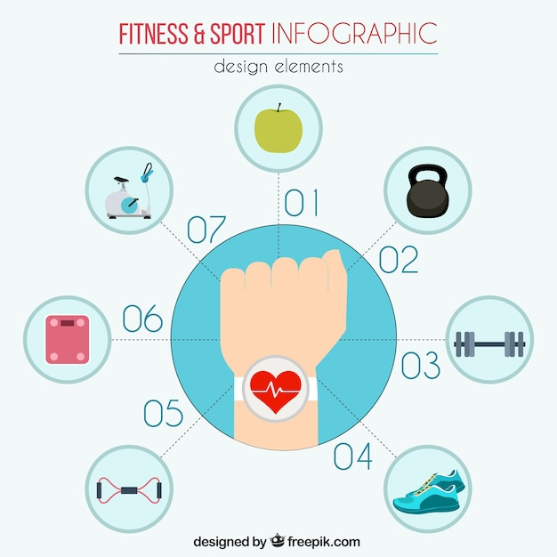 Fitness en sport infographic elementen Gratis Vector