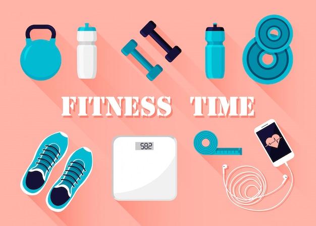 Fitness en sport trainingsapparatuur pictogrammen geïsoleerd. Premium Vector
