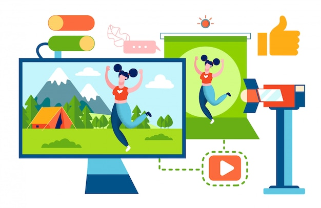 Fitness en toerisme video blogger Premium Vector
