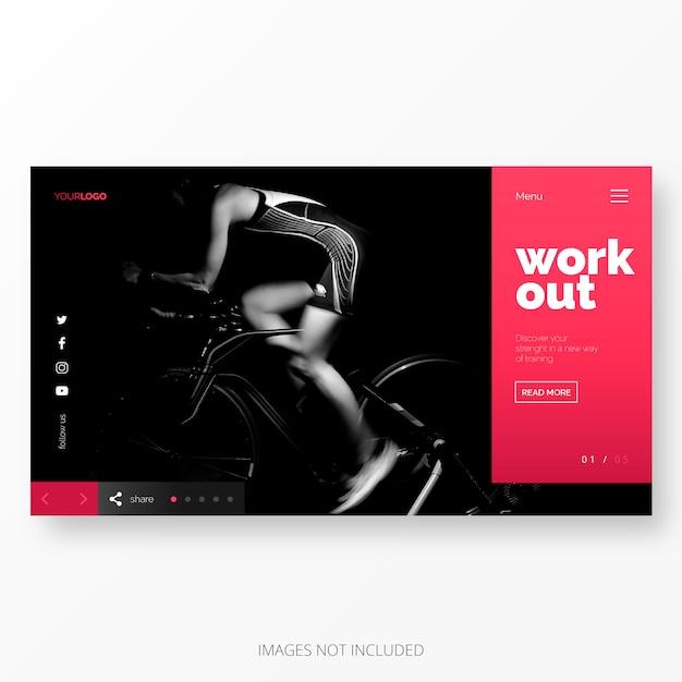 Fitness en werken bestemmingspagina sjabloon Gratis Vector