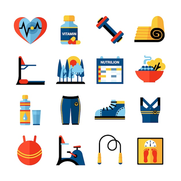 Fitness flat color icons set Gratis Vector
