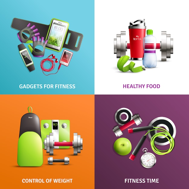 Fitness gym concept icons set Gratis Vector