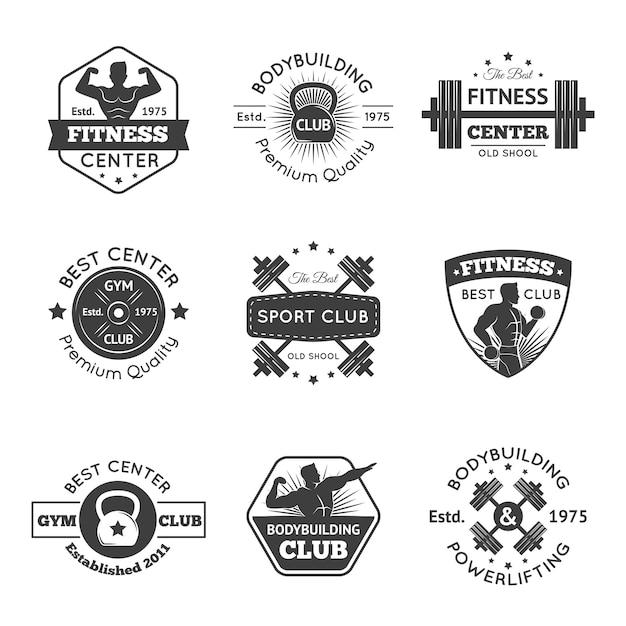 Fitness gym emblemen set Gratis Vector