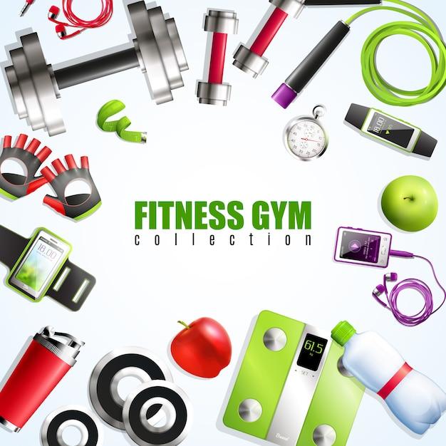 Fitness gym samenstelling Gratis Vector