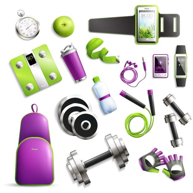 Fitness gym set Gratis Vector