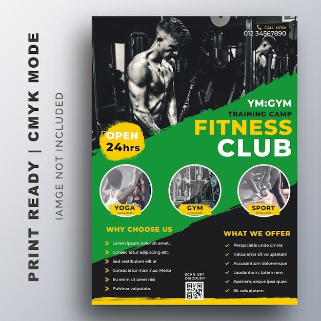 Fitness, gym training flyer ontwerpsjabloon Premium Vector