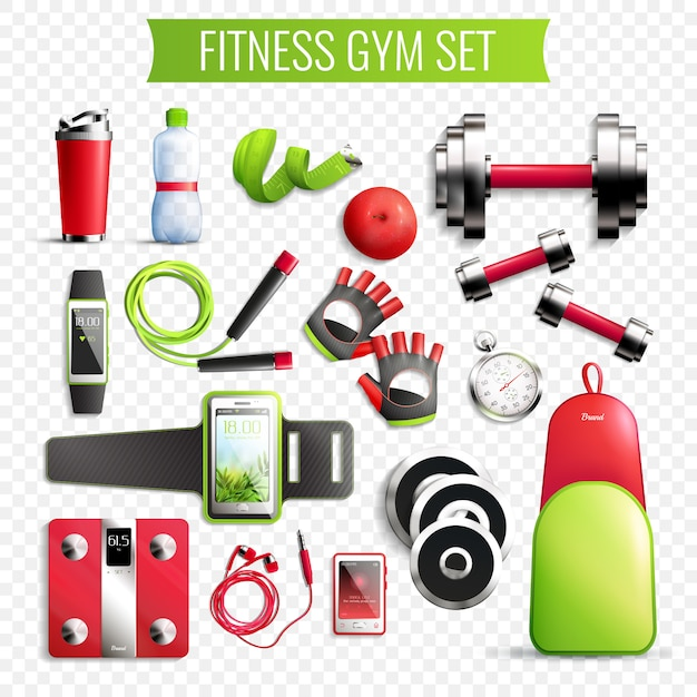 Fitness gym transparante set Gratis Vector