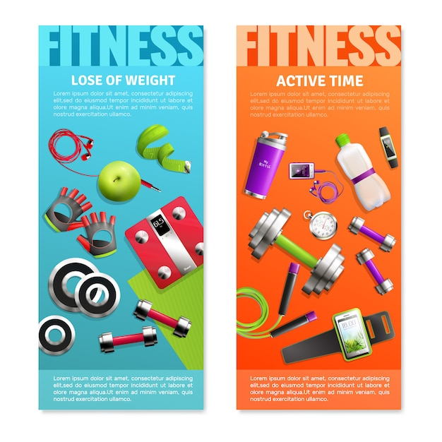 Fitness gym verticale banners set Gratis Vector