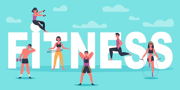 Fitness karakters. jongeren die in de buurt van grote fitnessbrieven trainen, man en vrouw trainen, sport training concept illustratie. fitnesstraining actief, gezonde sportgymnastiek, lichaamsoefening Premium Vector