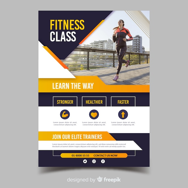 Fitness klasse sport sjabloon folder Gratis Vector
