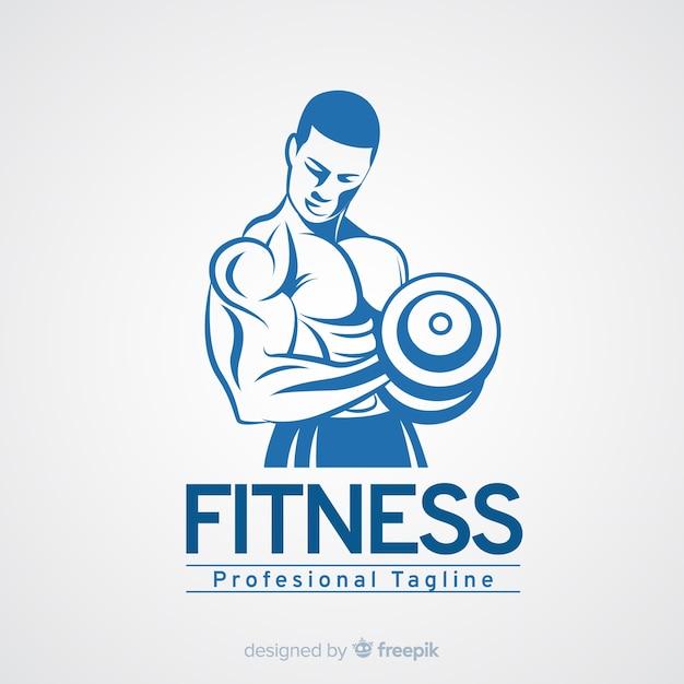 Fitness logo sjabloon met gespierde man Gratis Vector