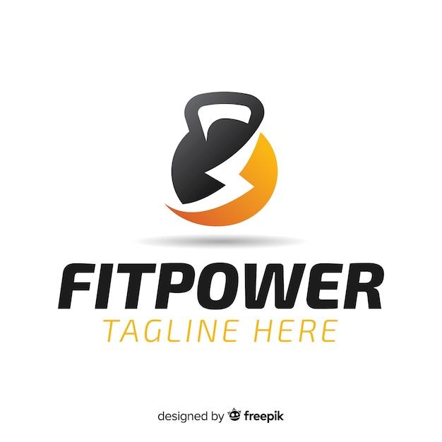 Fitness logo sjabloon vlakke stijl Gratis Vector