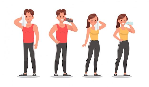 Fitness man en vrouw doen oefening tekenset Premium Vector
