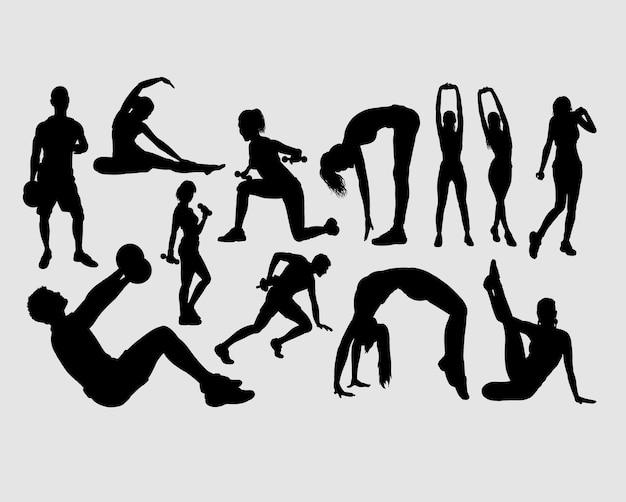 Fitness mannelijke en vrouwelijke mensen silhouet Premium Vector