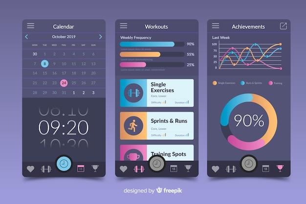 Fitness mobiele app infographic sjabloon vlakke stijl Gratis Vector