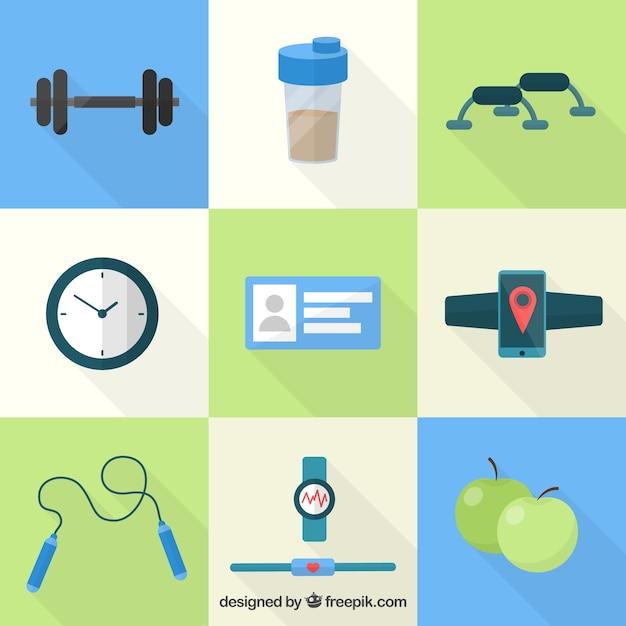 Fitness pictogrammen Gratis Vector