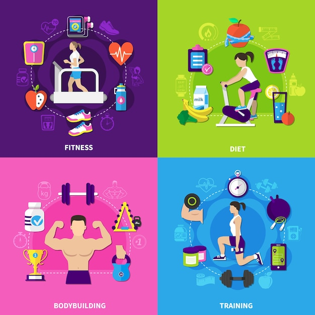 Fitness samenstelling set Gratis Vector