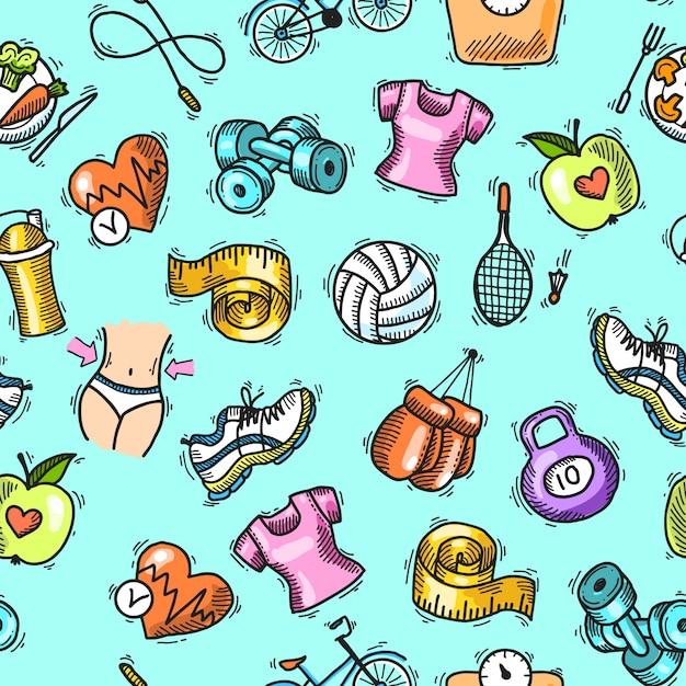Fitness schets gekleurde naadloze patroon Gratis Vector