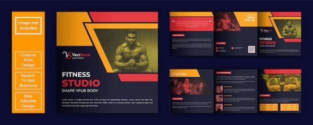 Fitness studio vierkante gevouwen brochure sjabloon Premium Vector