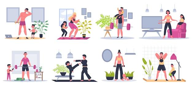 Fitness thuis. moeder, vader en kinderen thuis trainen, trainingsactiviteiten, gezinnen gezonde levensstijl illustratie set. training voor het gezin, gezonde lichaamsbeweging voor moeder en kinderen Premium Vector