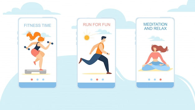 Fitness-tijd, run for fun, meditation and relax mobiele app-pagina onboard screen set Premium Vector