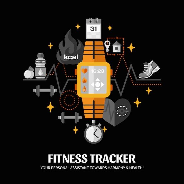 Fitness tracker illustratie Gratis Vector