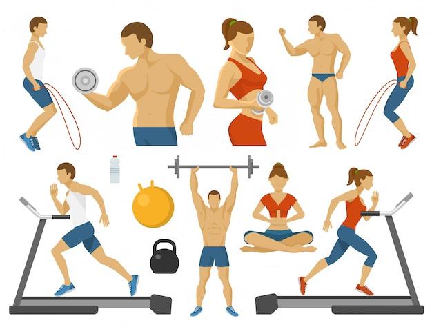 Fitness vlakke elementen instellen Gratis Vector
