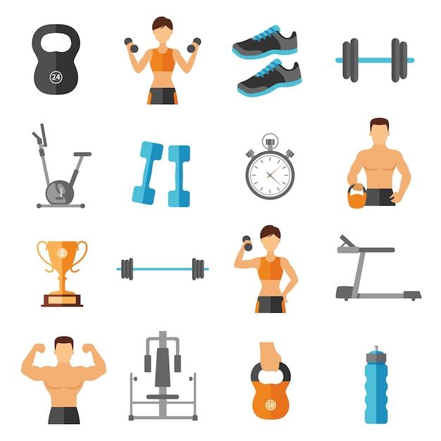 Fitness vlakke stijl icons set Gratis Vector