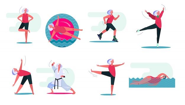 Fitnessactiviteiten ingesteld Gratis Vector