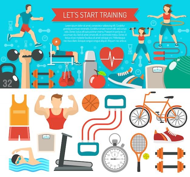 Fitnessbanner horizontaal Gratis Vector